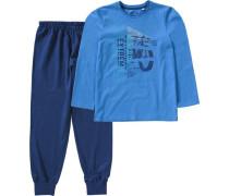 Schlafanzug für Jungen blau / marine / royalblau