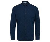 Slim Fit-Langarmhemd dunkelblau / weiß