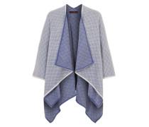 Poncho im Jacquard-Stil blau