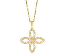 Kette mit Anhänger mit Swarovski Kristallen »Blüte« gold