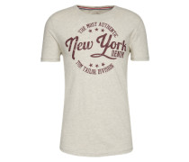 T-Shirt beigemeliert / burgunder