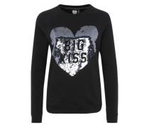 Sweatshirt mit Paillettenherz schwarz