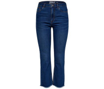 Scarlett hw Crop Straight Fit Jeans blau