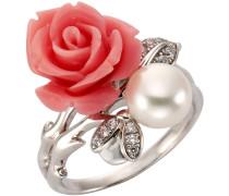 Ring »Rose« mit Zirkonia und Süßwasserzuchtperle silber