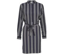 Gestreiftes Kleid mit langen Ärmeln blau / weiß