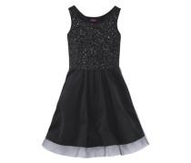 Festliches Kleid mit Pailletten und Tüll für Mädchen schwarz