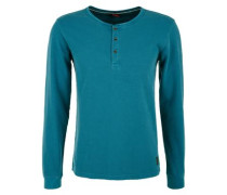 Henleyshirt aus Jaquard petrol