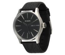 Armbanduhr 'Sentry Leather' schwarz / silber