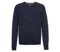 V-Pullover mit Seide dunkelblau
