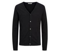 Melange- Strick-Cardigan schwarz