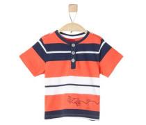T-Shirt mit Streifen dunkelblau / dunkelorange / weiß
