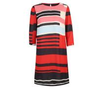 Fließendes Kleid mit Muster mischfarben / rot