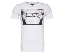 T-Shirt 'never EST Print' weiß