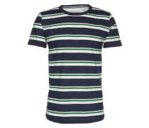 T-Shirt 'tee with printed stripe' dunkelblau / weiß / grün