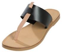 Leder-Sandalen beige / schwarz