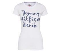 T-Shirt 'thdw' taubenblau / weiß