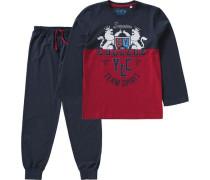 Schlafanzug für Jungen blau / ultramarinblau / dunkelrot
