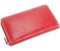 Porto Geldbörse Leder 19 cm rubinrot