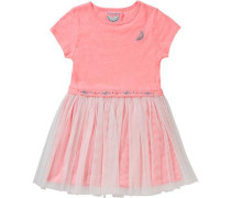 Kinder Jerseykleid mit Tüllrock koralle / pink / rosa