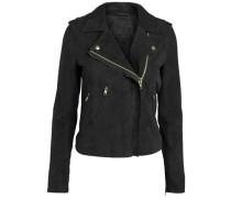 Wildleder-Biker-Jacke schwarz