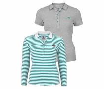 Langarm-Poloshirt (Set 2 tlg. mit T-Shirt) türkis / basaltgrau / weiß