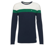 Langarmshirt 'colourblock structure crew' dunkelblau / grün / weiß