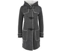 Melierter Sweat-Mantel mit Plüsch grau