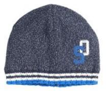 Softe Strickmütze mit Stitching blau