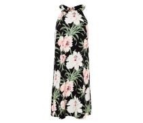 A-Linien-Kleid mit Maxi-Blumenprint mischfarben / schwarz