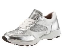 Schnürer Materialmix im Metallic Look grau / silber