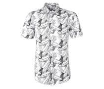 'Extra Slim' Kurzarmhemd grau / weiß