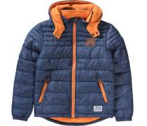 Winterjacke für Jungen blaumeliert / orange