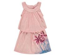 Kleid in Lagenoptik pink