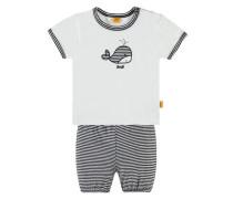 'Set 2tlg. T-Shirt + Shorts' grau / schwarz / weiß