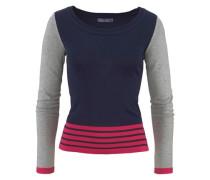 Pullover Colour Blocking blau / grau / cranberry