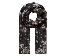 Tuch mit Streublumen-Druck mischfarben / schwarz