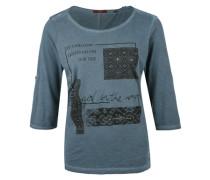Garment Dye-Shirt mit Zierperlen blau