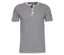 Henley-Shirt im Ringel-Design navy / weiß