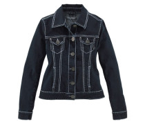Jeansjacke »Kontrastnähte« schwarz / weiß