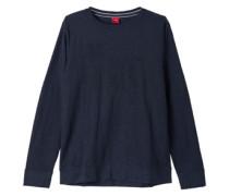 Flammgarn-Shirt mit Schriftapplikation blau