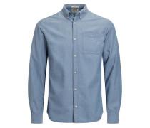 Micromuster-Langarmhemd blue denim