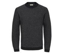 Strickpullover Wollmix- grau / schwarz / weiß