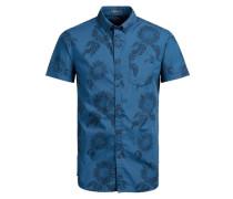 Komplett bedrucktes Kurzarmhemd blau