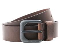 Ledergürtel mit Dornschließe im Vintage-Style 'zed' dunkelbraun / silber