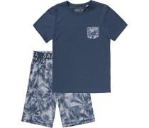 Schlafanzug für Jungen dunkelblau / weiß