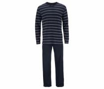 Ringel Pyjama lang nachtblau / weiß