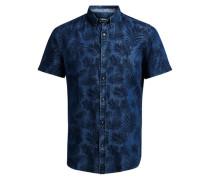 Kurzarmhemd Verziertes blau