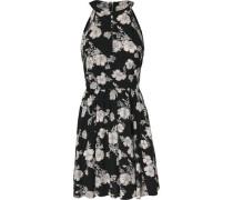 Neckholder-Kleid mit geblümtem Motiv schwarz