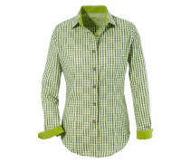 Trachtenbluse Damen im Karodesign grün / weiß