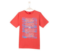 T-Shirt mit Wording-Print hellblau / hellrot